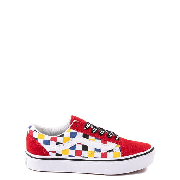 Vans Old Skool ComfyCush® Checkerboard Skate Shoe - Big Kid - Red / Multicolor
