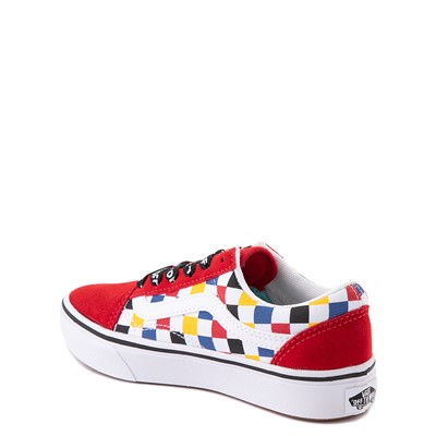 Alternate view of Vans Old Skool ComfyCush® Checkerboard Skate Shoe - Big Kid - Red / Multicolor