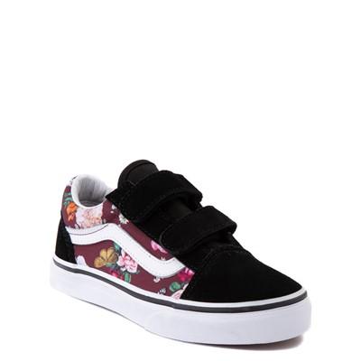 Alternate view of Vans Old Skool V Butterfly Floral Skate Shoe - Little Kid - Black / Port Royale