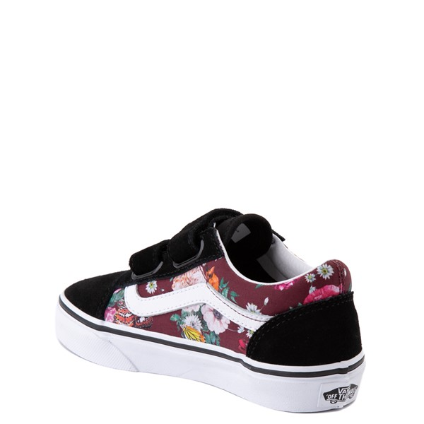 alternate view Vans Old Skool V Butterfly Floral Skate Shoe - Big Kid - Black / Port RoyaleALT1