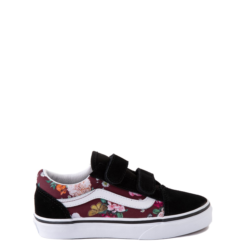 Vans Old Skool V Butterfly Floral Skate Shoe - Big Kid - Black / Port Royale