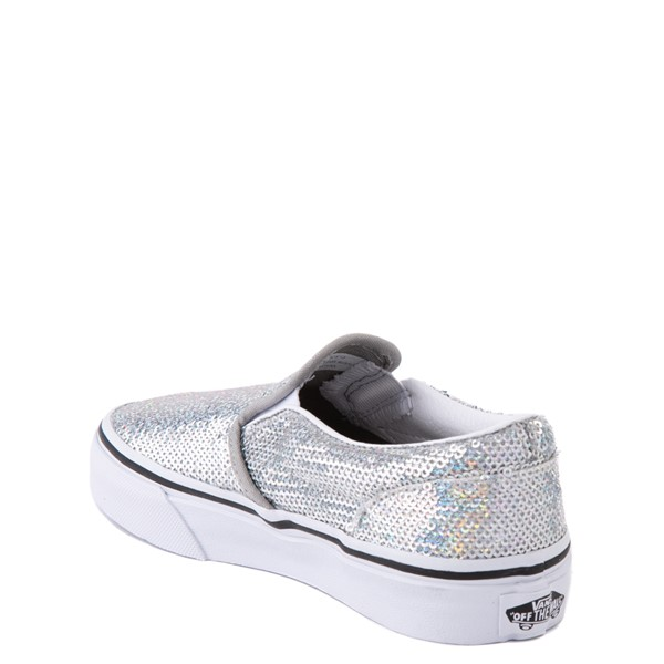 alternate view Vans Slip On Micro Sequins Skate Shoe - Little Kid - SilverALT1