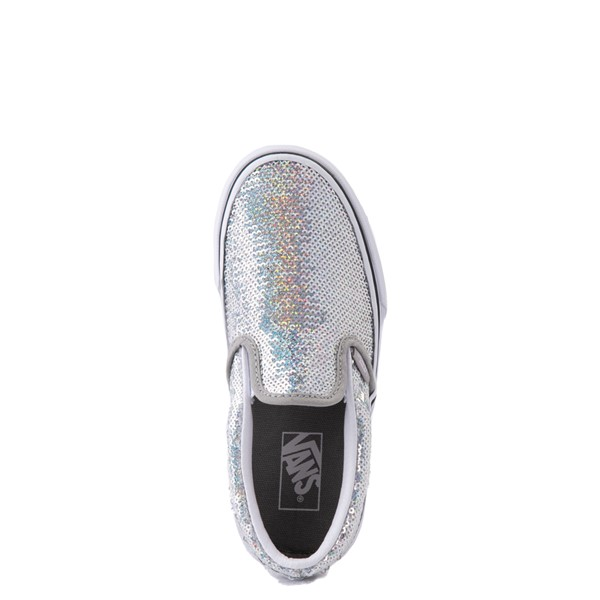 alternate view Vans Slip On Micro Sequins Skate Shoe - Little Kid - SilverALT2