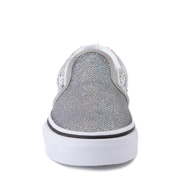 alternate view Vans Slip On Micro Sequins Skate Shoe - Little Kid - SilverALT4
