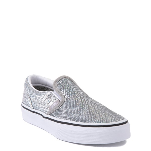 alternate view Vans Slip On Micro Sequins Skate Shoe - Little Kid - SilverALT5
