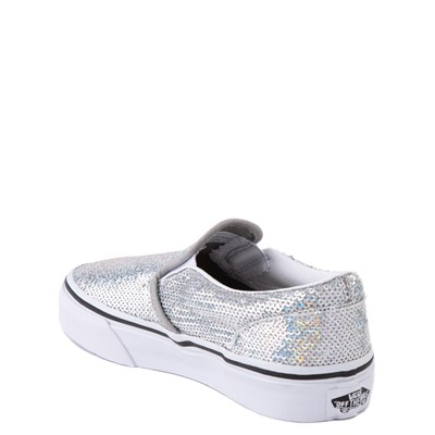 Alternate view of Vans Slip On Micro Sequins Skate Shoe - Little Kid - Silver