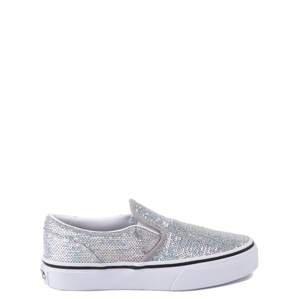 Vans Slip On Micro Sequins Skate Shoe - Little Kid - Silver