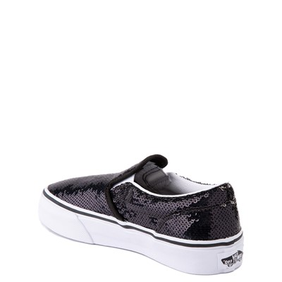 Alternate view of Vans Slip On Micro Sequins Skate Shoe - Little Kid - Black