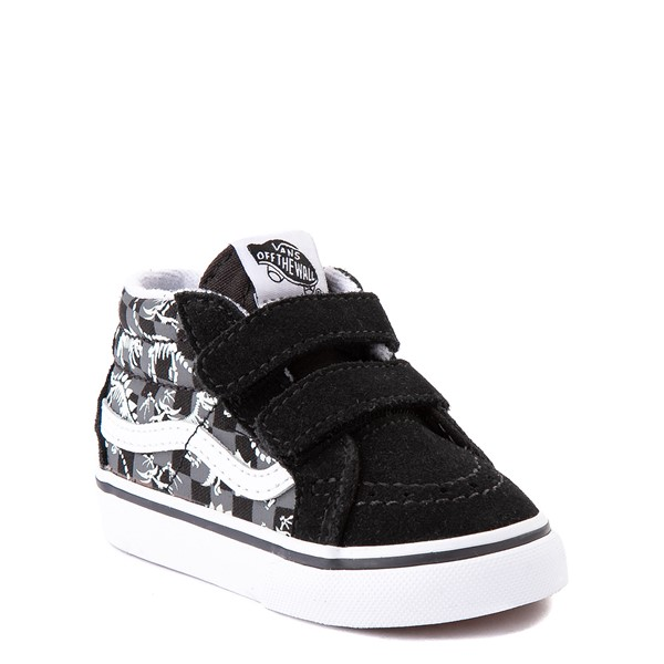 alternate view Vans Sk8 Mid Reissue V Dino Glow Skeleton Skate Shoe - Baby / Toddler - BlackALT1B