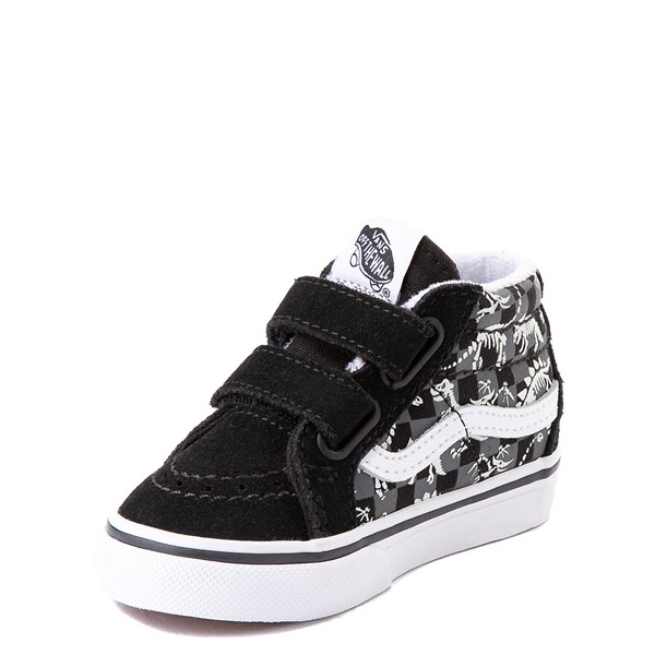 alternate view Vans Sk8 Mid Reissue V Dino Glow Skeleton Skate Shoe - Baby / Toddler - BlackALT3