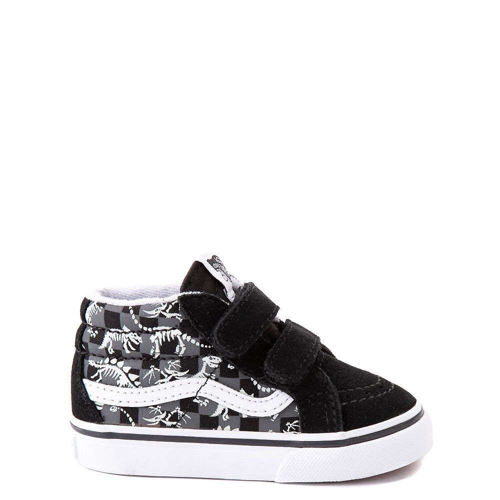 Vans Sk8 Mid Reissue V Dino Glow Skeleton Skate Shoe - Baby / Toddler - Black