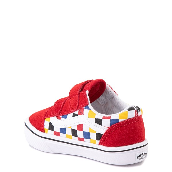 alternate view Vans Old Skool V ComfyCush® Checkerboard Skate Shoe - Baby / Toddler - Red / MulticolorALT1