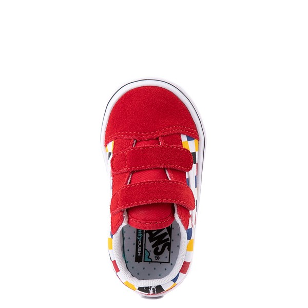 alternate view Vans Old Skool V ComfyCush® Checkerboard Skate Shoe - Baby / Toddler - Red / MulticolorALT2