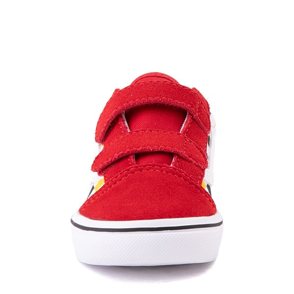 alternate view Vans Old Skool V ComfyCush® Checkerboard Skate Shoe - Baby / Toddler - Red / MulticolorALT4