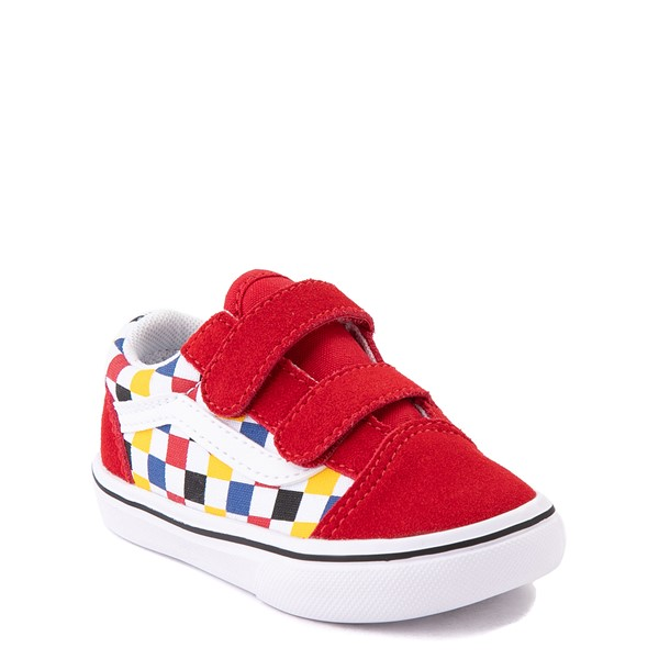 alternate view Vans Old Skool V ComfyCush® Checkerboard Skate Shoe - Baby / Toddler - Red / MulticolorALT5