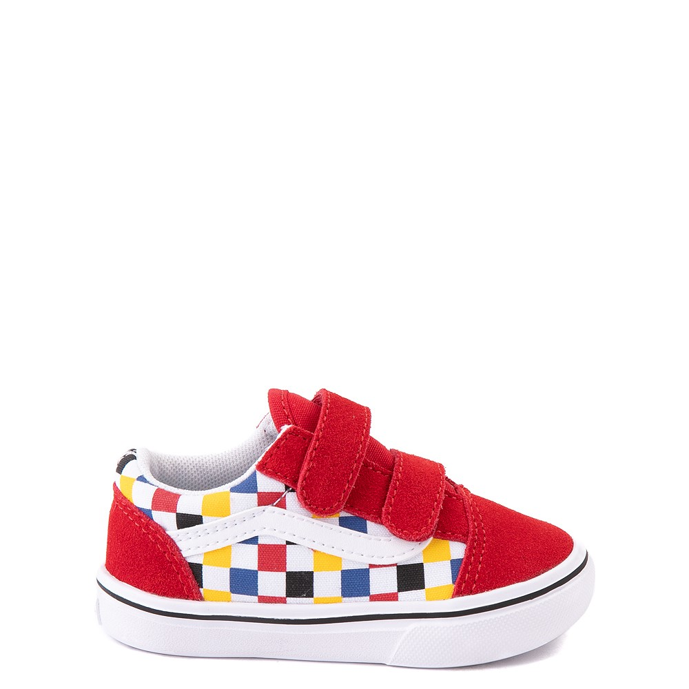 Vans Old Skool V ComfyCush® Checkerboard Skate Shoe - Baby / Toddler - Red / Multicolor