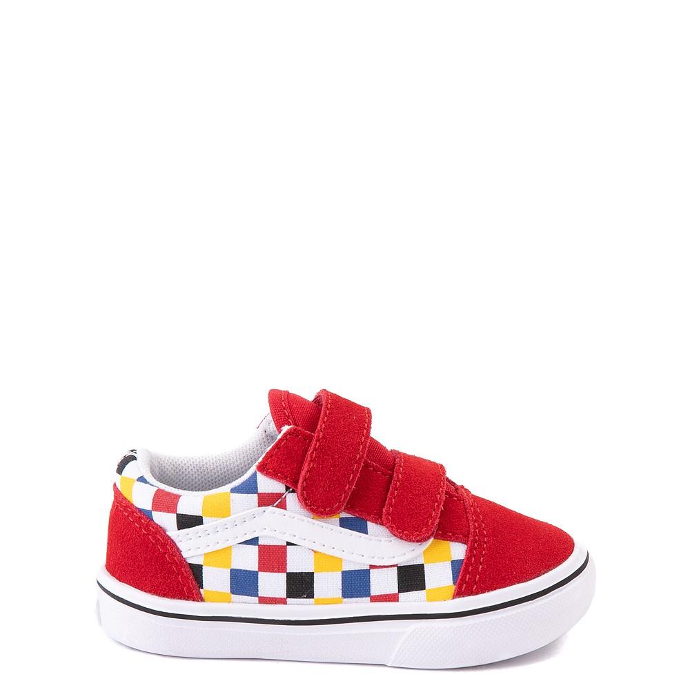Vans Old Skool V ComfyCush® Checkerboard Skate Shoe - Baby / Toddler - Red / Multicolor