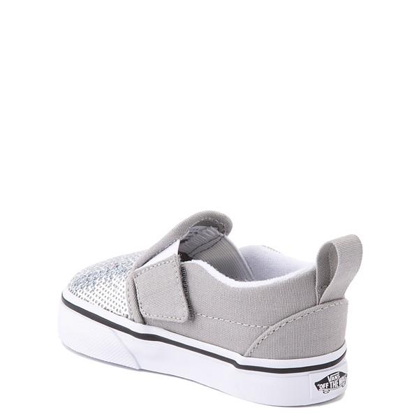 alternate view Vans Slip On V Micro Sequins Skate Shoe - Baby / Toddler - SilverALT1