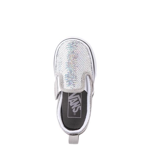 alternate view Vans Slip On V Micro Sequins Skate Shoe - Baby / Toddler - SilverALT2