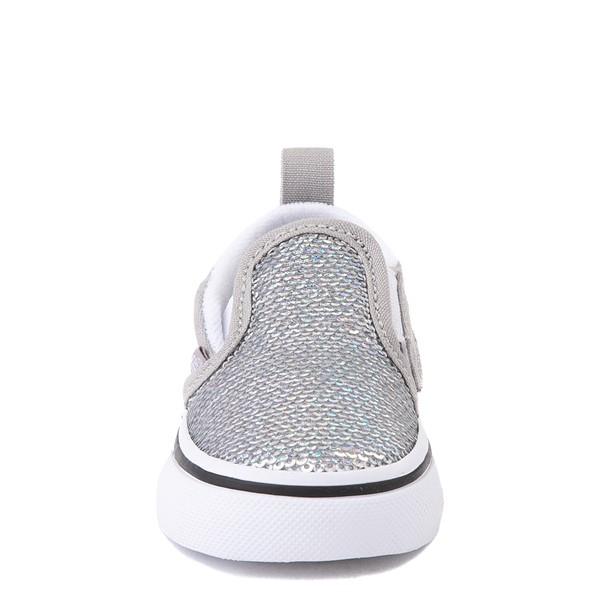 alternate view Vans Slip On V Micro Sequins Skate Shoe - Baby / Toddler - SilverALT4