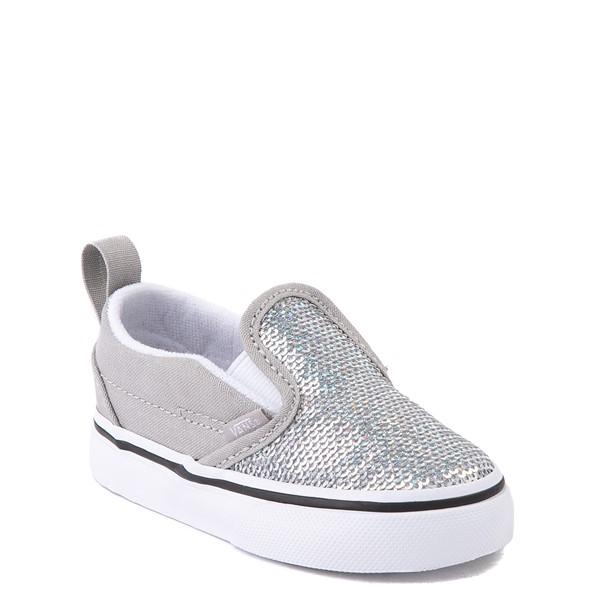 alternate view Vans Slip On V Micro Sequins Skate Shoe - Baby / Toddler - SilverALT5