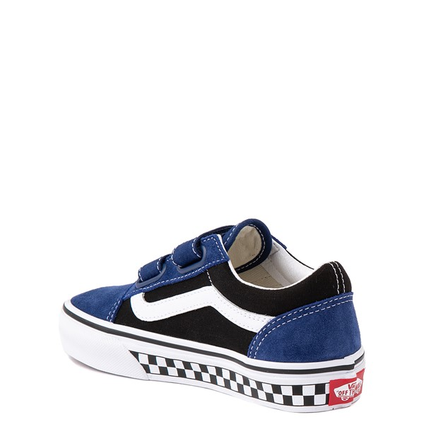 alternate view Vans Old Skool V Logo Pop Skate Shoe - Little Kid - Black / Estate BlueALT1