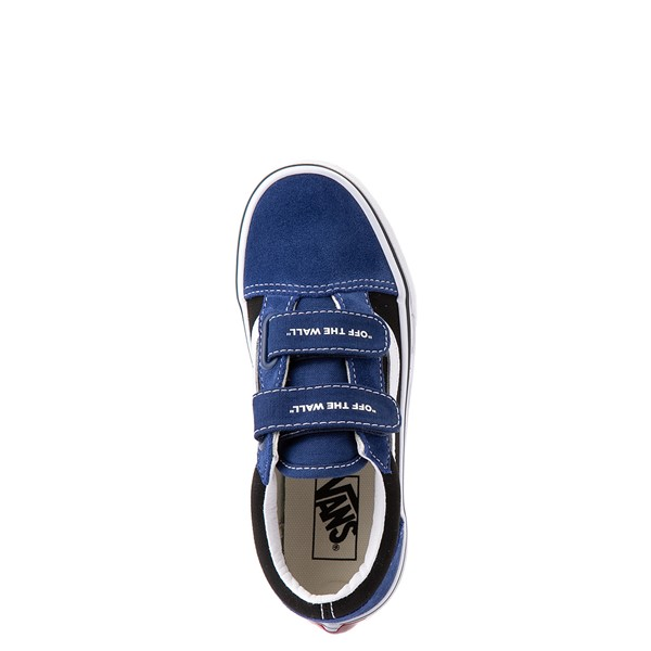 alternate view Vans Old Skool V Logo Pop Skate Shoe - Little Kid - Black / Estate BlueALT2