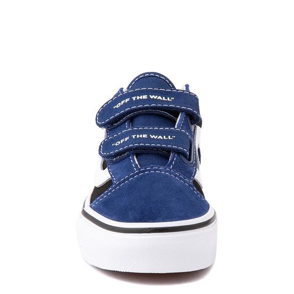 alternate view Vans Old Skool V Logo Pop Skate Shoe - Little Kid - Black / Estate BlueALT4