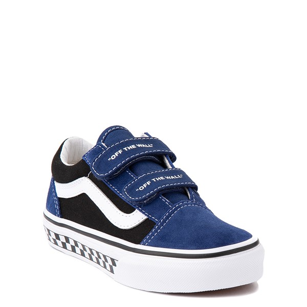alternate view Vans Old Skool V Logo Pop Skate Shoe - Little Kid - Black / Estate BlueALT5