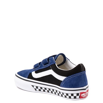 Alternate view of Vans Old Skool V Logo Pop Skate Shoe - Little Kid - Black / Estate Blue