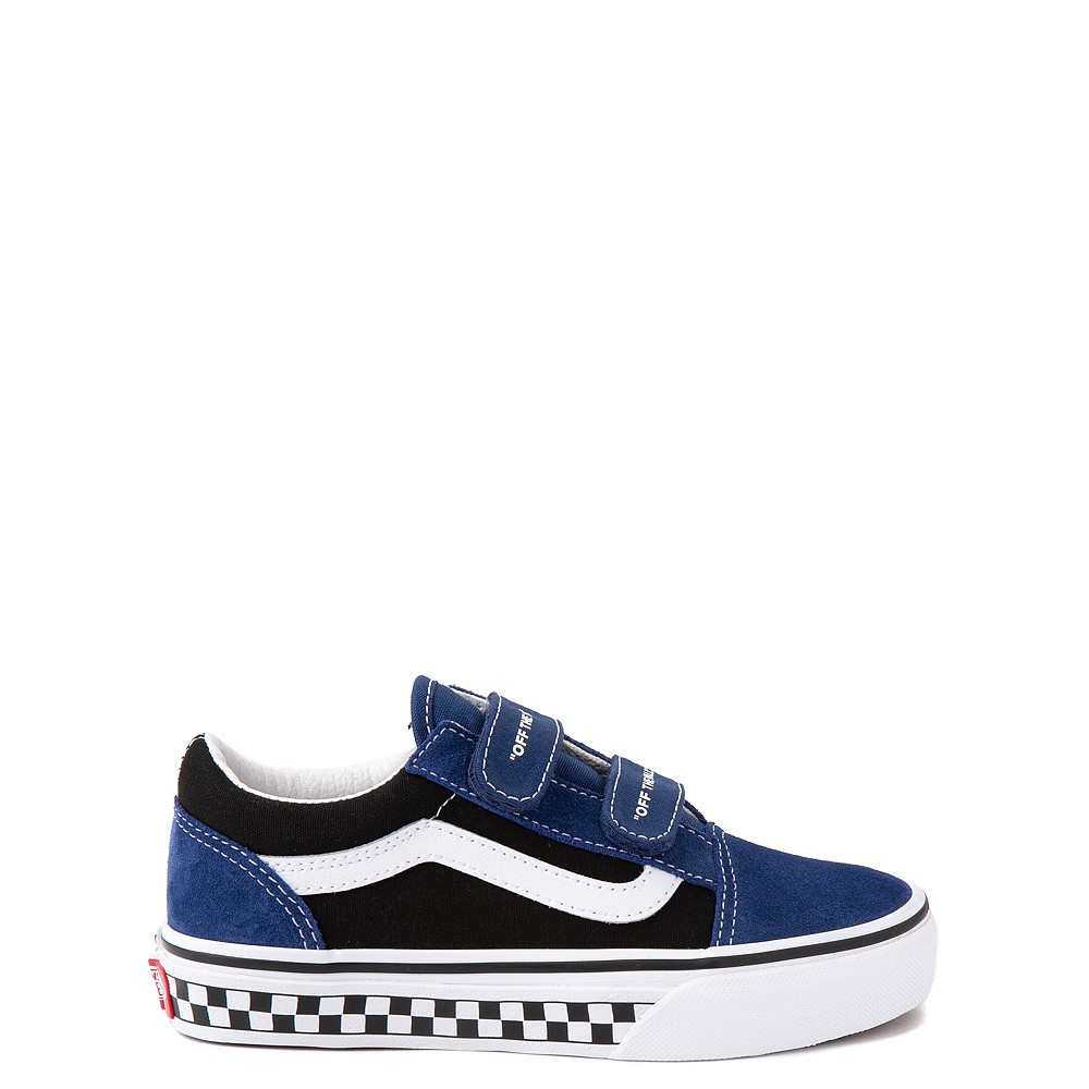Vans Old Skool V Logo Pop Skate Shoe - Little Kid - Black / Estate Blue