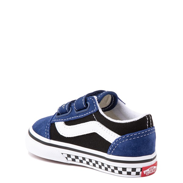 alternate view Vans Old Skool V Logo Pop Skate Shoe - Baby / Toddler - Black / Estate BlueALT1