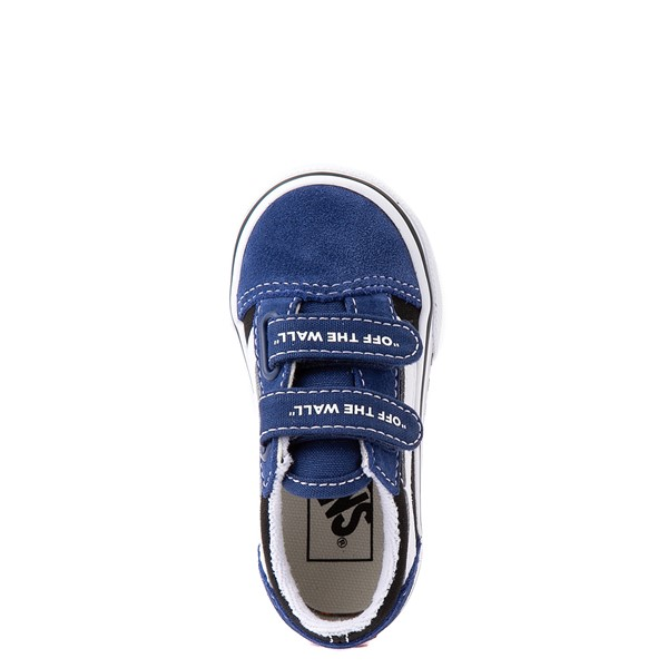 alternate view Vans Old Skool V Logo Pop Skate Shoe - Baby / Toddler - Black / Estate BlueALT2