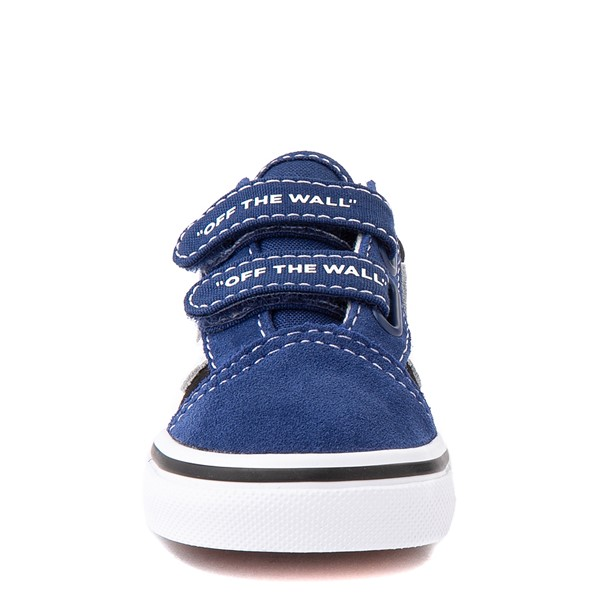 alternate view Vans Old Skool V Logo Pop Skate Shoe - Baby / Toddler - Black / Estate BlueALT4