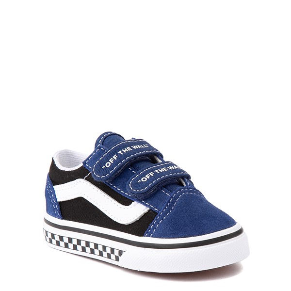 alternate view Vans Old Skool V Logo Pop Skate Shoe - Baby / Toddler - Black / Estate BlueALT5