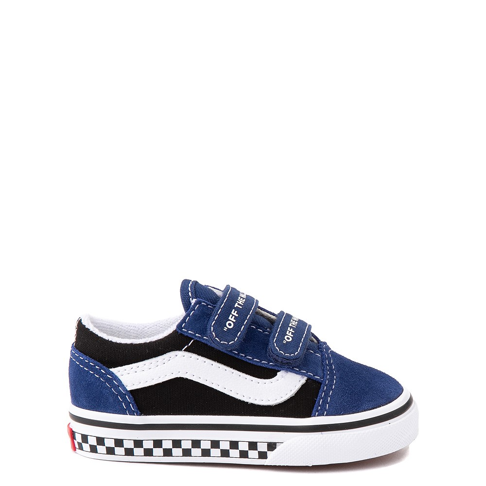 Vans Old Skool V Logo Pop Skate Shoe - Baby / Toddler - Black / Estate Blue
