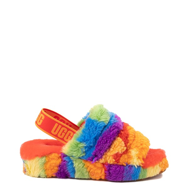 Main view of UGG® Fluff Yeah Pride Slide Sandal - Rainbow