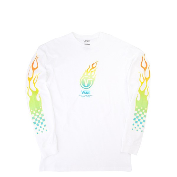 Mens Vans Glow Flame Long Sleeve Tee - White