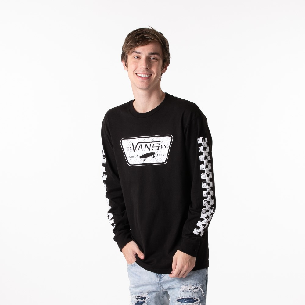 Mens Vans Sketch Patch Long Sleeve Tee - Black