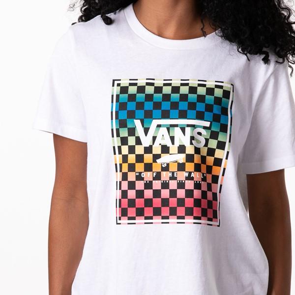 alternate view Womens Vans Vintage Checkerboard Box Logo Tee - White / RainbowALT2