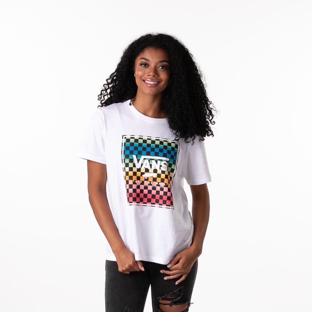 Womens Vans Vintage Checkerboard Box Logo Tee - White / Rainbow