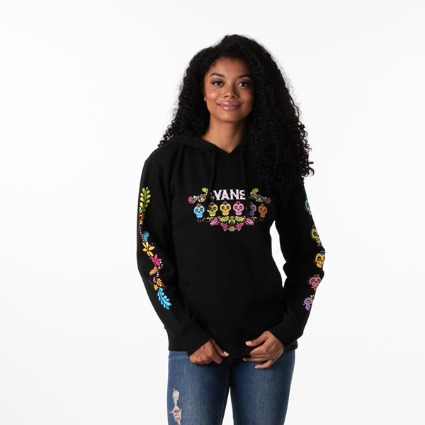 Main view of Womens Vans Las Calaveras Boyfriend Hoodie - Black