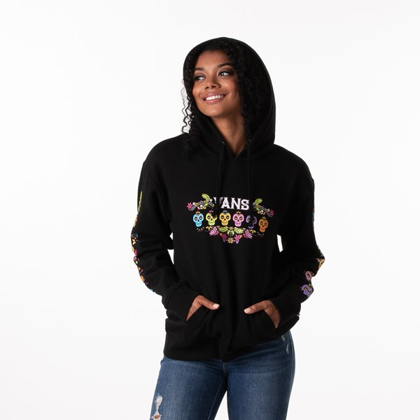 alternate view Womens Vans Las Calaveras Boyfriend Hoodie - BlackALT1