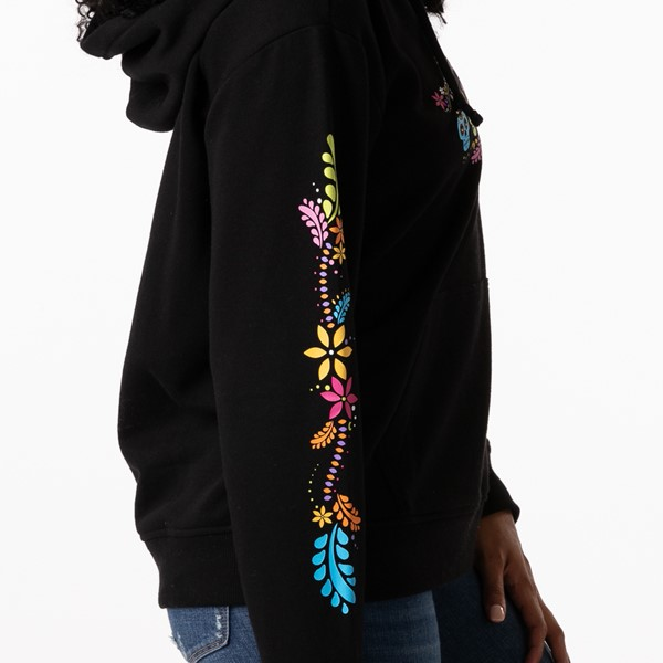 alternate view Womens Vans Las Calaveras Boyfriend Hoodie - BlackALT2C