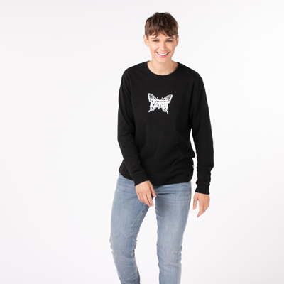 Alternate view of Womens Vans Flutterfly Long Sleeve Boyfriend Tee - Black