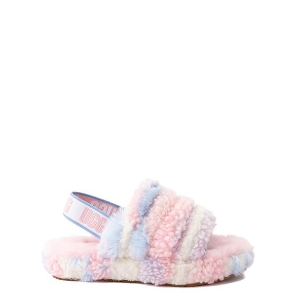 Main view of UGG® Fluff Yeah Pride Slide Sandal - Little Kid / Big Kid - Pastel Multicolor