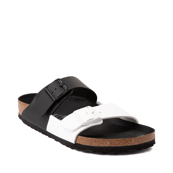 alternate view Mens Birkenstock Arizona Split Sandal - Black / WhiteALT5