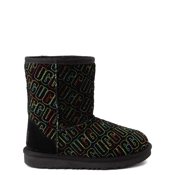 Main view of UGG® Classic II Graphic Stitch Boot - Little Kid / Big Kid - Black / Rainbow