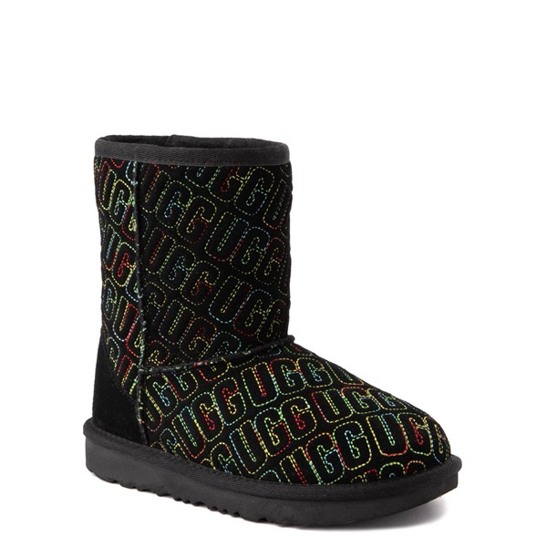 alternate view UGG® Classic II Graphic Stitch Boot - Little Kid / Big Kid - Black / RainbowALT1