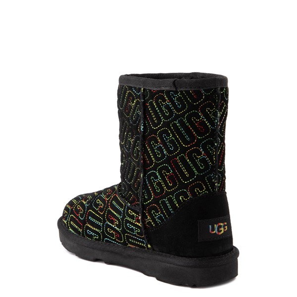 alternate view UGG® Classic II Graphic Stitch Boot - Little Kid / Big Kid - Black / RainbowALT2